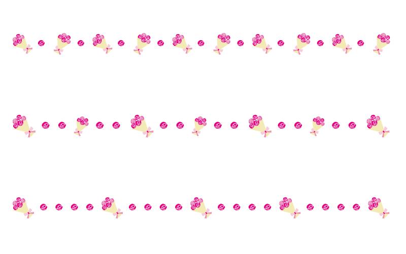 バラ(薔薇)の花束の罫線イラスト