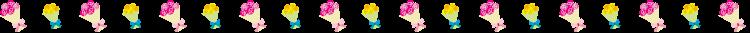 ピンクと黄色のバラの花束の罫線イラスト