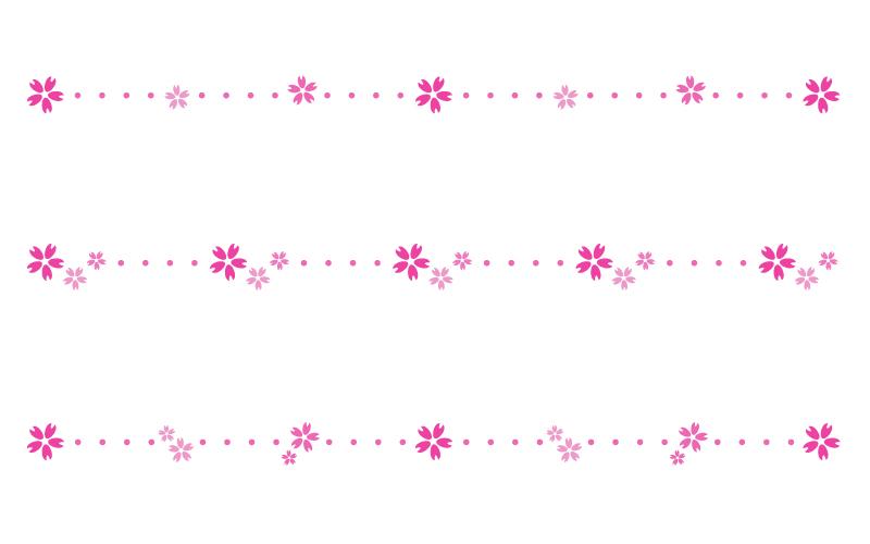 桜の花びらと点線の罫線イラスト
