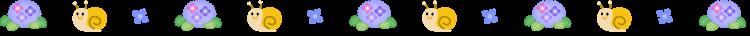 カタツムリと紫陽花の梅雨の罫線イラスト