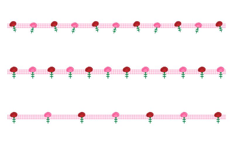 カーネーションとチェック模様の罫線イラスト