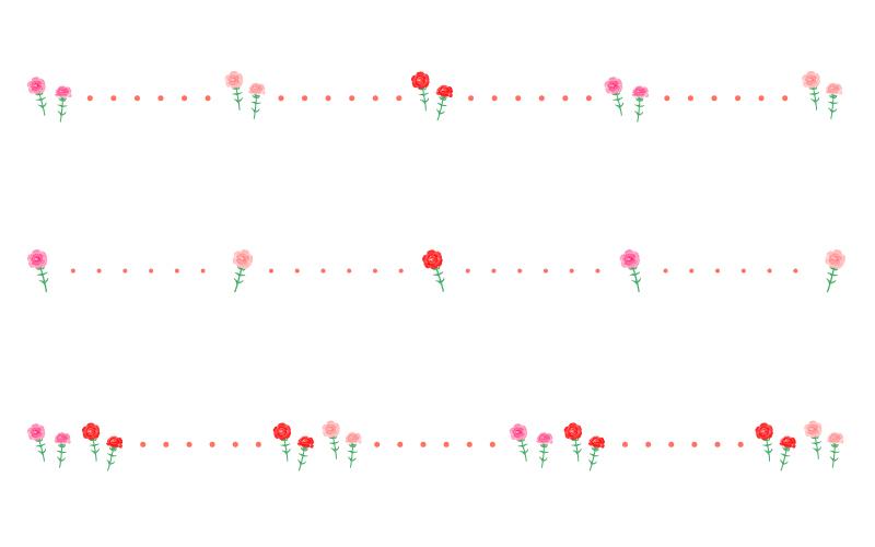 母の日・カーネーションと点線の罫線イラスト