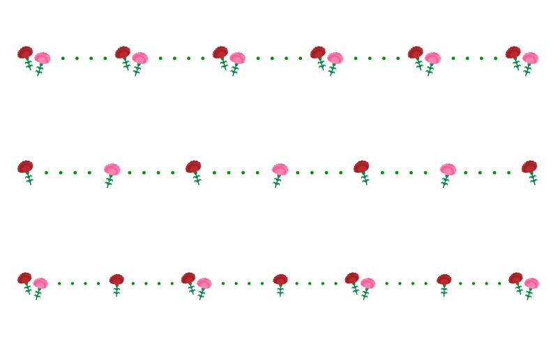 母の日・カーネーションと点線の罫線イラスト02