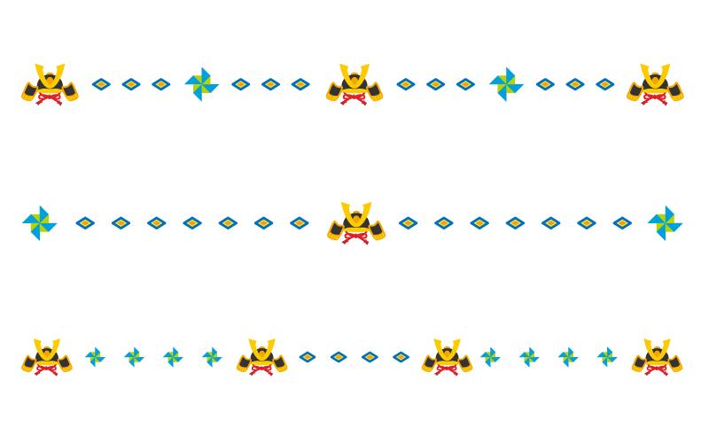 兜などの子どもの日の罫線イラスト
