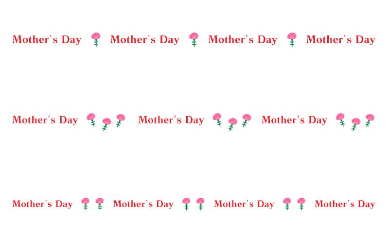 「Mother's Day」とカーネーションの罫線イラスト