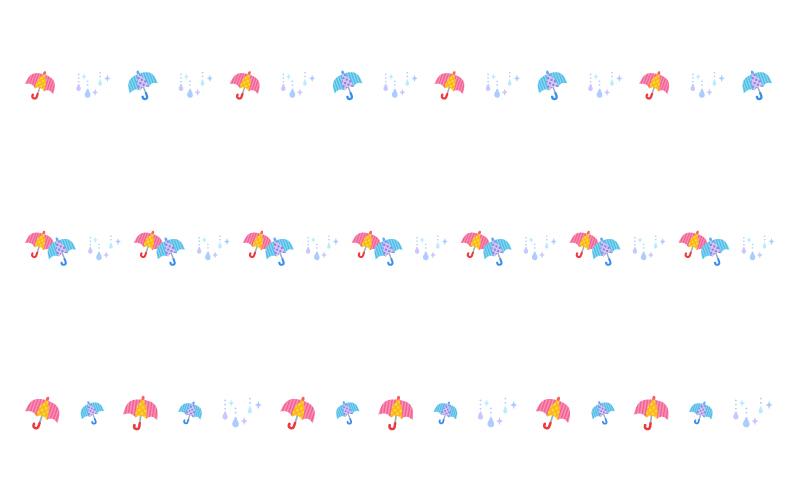 雨と傘の罫線イラスト
