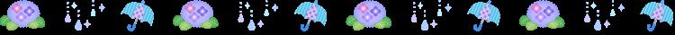 雨と紫陽花の梅雨の罫線イラスト
