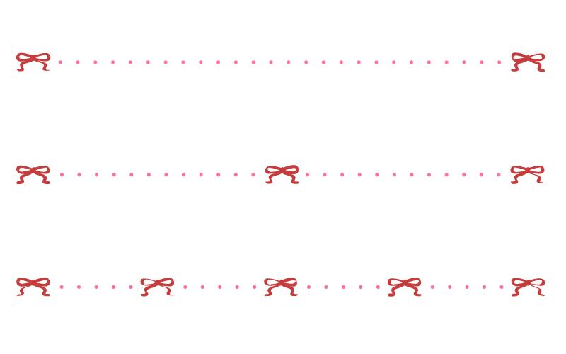 リボンと点線の罫線イラスト03