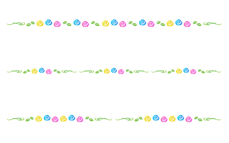 いろいろな色のバラの罫線イラスト