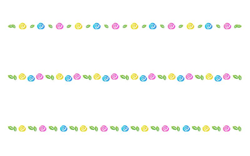 いろいろな色のバラの罫線イラスト02
