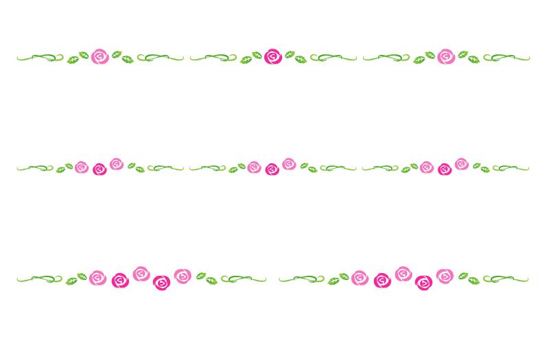 バラ(薔薇)の罫線イラスト02