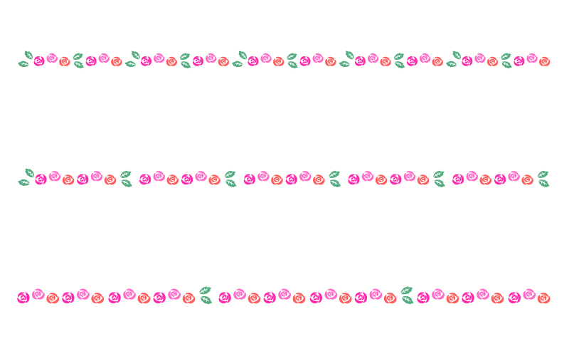 バラ(薔薇)の罫線イラスト03