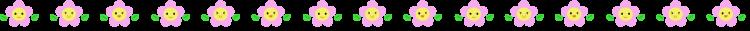 かわいいスマイルの小花の罫線イラスト