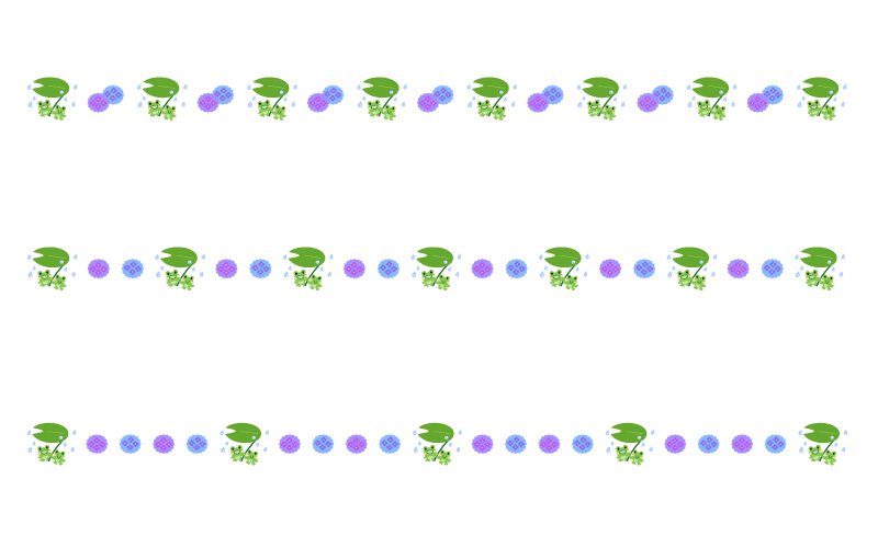 紫陽花とカエルの梅雨の罫線イラスト