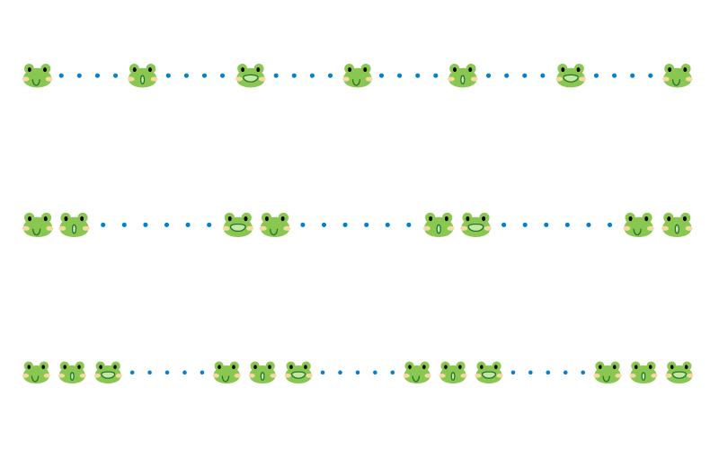 カエルと点線の罫線イラスト