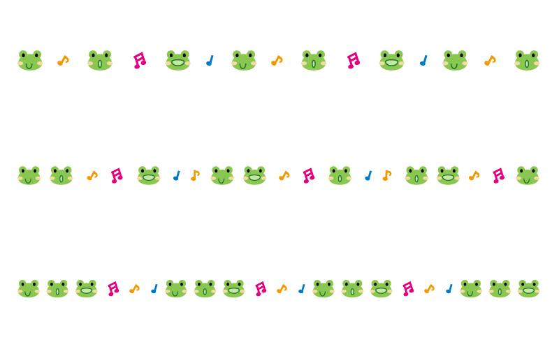 カエルと音符の罫線イラスト