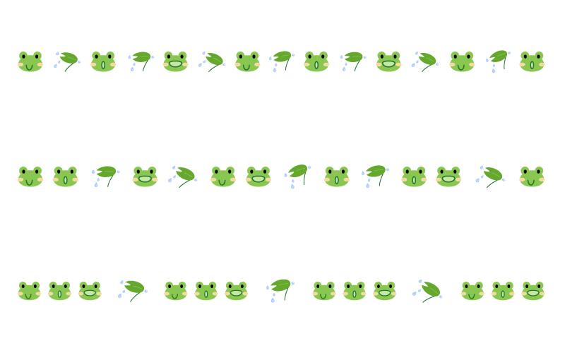 カエルと雨の罫線イラスト