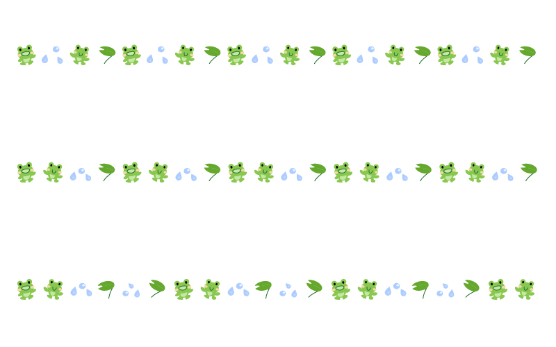 梅雨・カエルの罫線イラスト