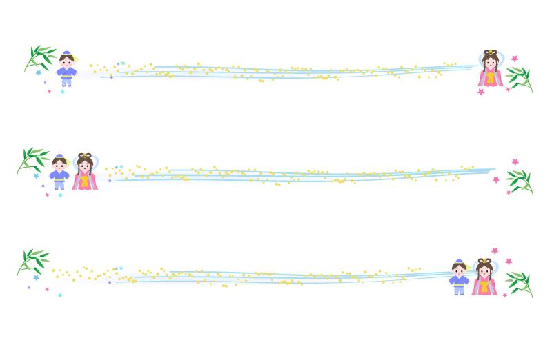彦星と織姫と天の川の七夕の罫線イラスト