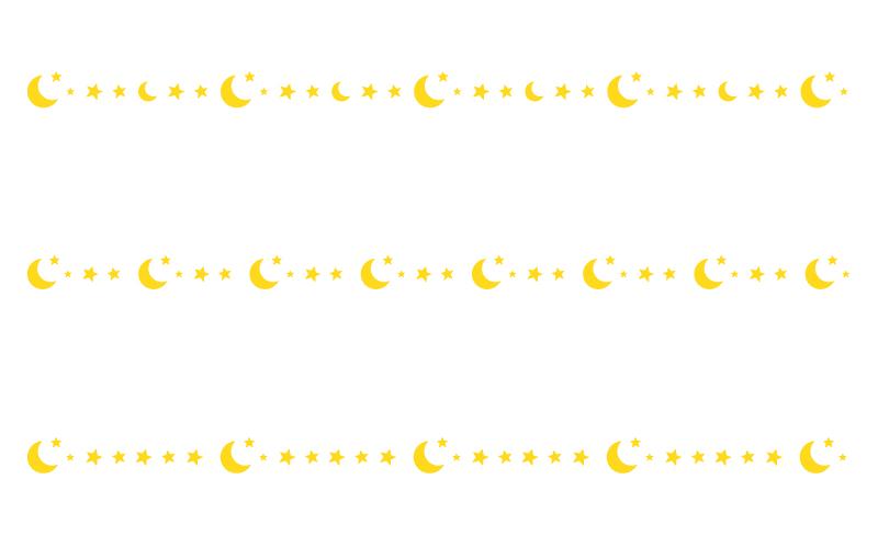 三日月と星の罫線イラスト02
