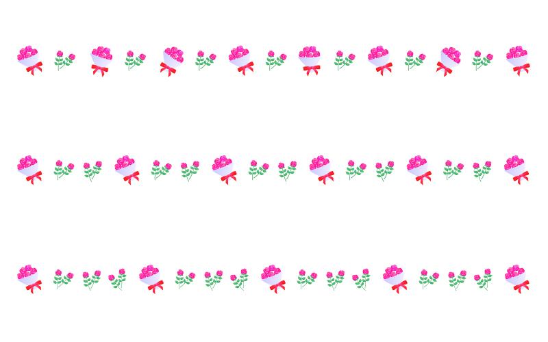 バラ(薔薇)の花束の罫線イラスト02