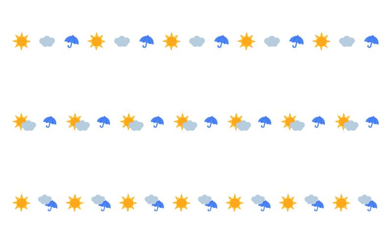 晴れと雲と雨の天気の罫線イラスト