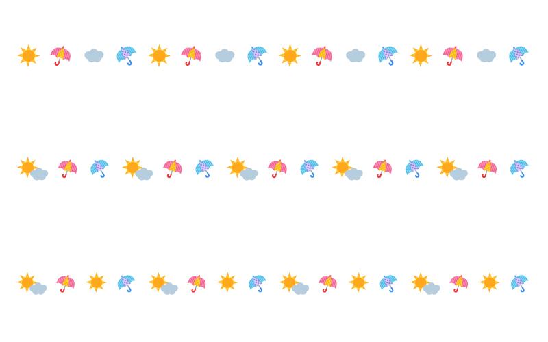 晴れと雲とカラフルな傘の天気の罫線イラスト