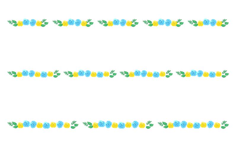 水色と黄色いバラの罫線イラスト
