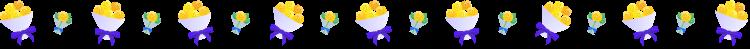 黄色いバラの花束の罫線イラスト02