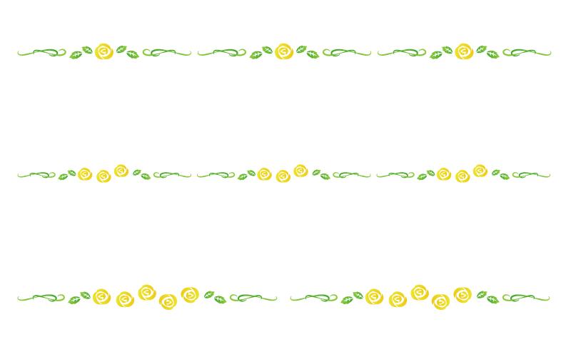 黄色いバラの罫線イラスト