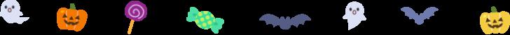 お化けやコウモリなどのハロウィンの罫線イラスト