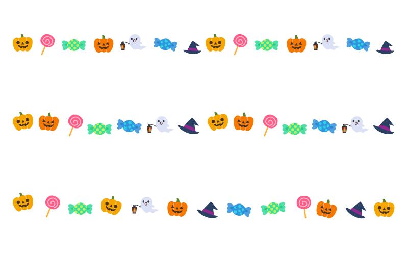 キャンディなどのハロウィンの罫線イラスト