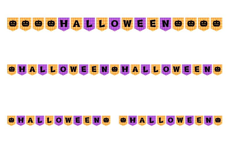 ハロウィンの文字の罫線イラスト