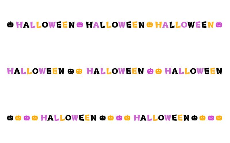 ハロウィン(halloween)の文字の罫線イラスト02