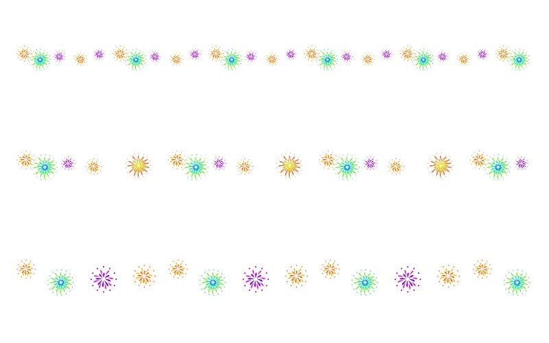 花火の罫線イラスト