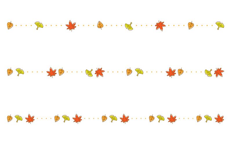 紅葉や銀杏と点線の罫線イラスト