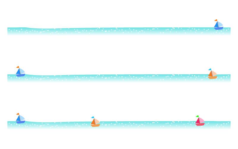 海とヨットの罫線イラスト