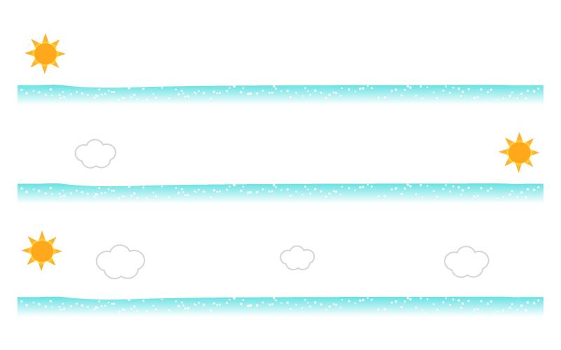 海と太陽の罫線イラスト