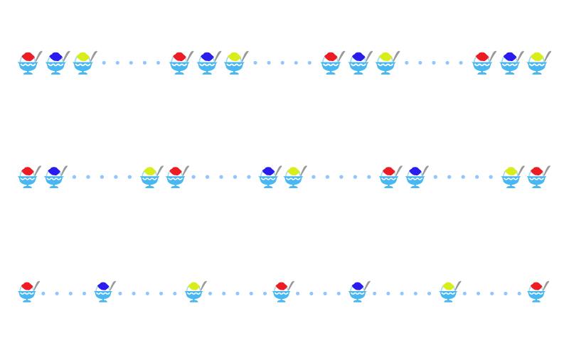 かき氷と点線の罫線イラスト