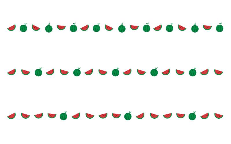 スイカの罫線イラスト