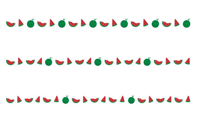 スイカ(西瓜)の罫線イラスト02