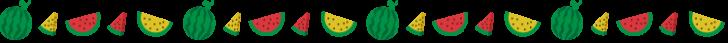 黄色と赤いスイカ(西瓜)の罫線イラスト