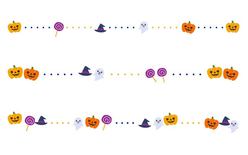 ハロウィン(halloween)と点線の罫線イラスト
