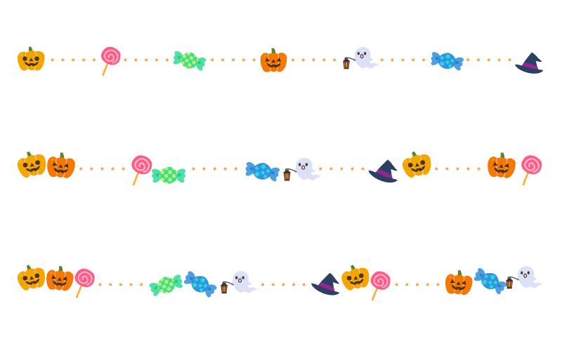 ハロウィン(halloween)と点線の罫線イラスト02