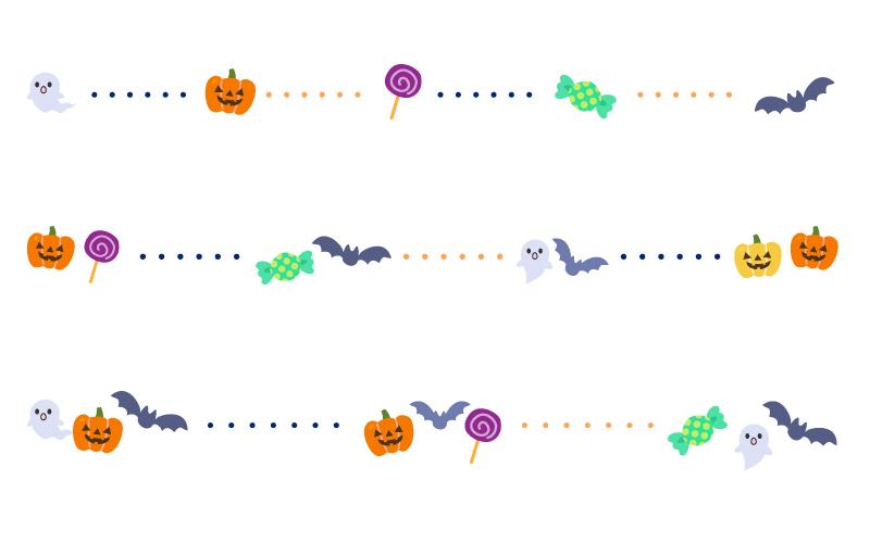 お化けやコウモリなどのハロウィン(halloween)と点線の罫線イラスト