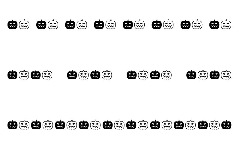 白黒のハロウィンのカボチャのお化けの罫線イラスト